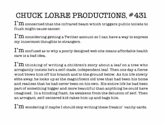 Chuck Lorre Vanity Card 431